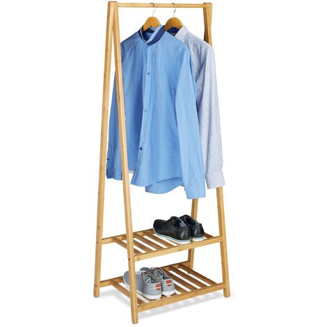 Relaxdays Bamboo Clothes Stand, 2 Shelves, Garment Rails, HxWxD: 150 x 60 x 40 cm, Portable Wardrobe, Small, Natural Brown