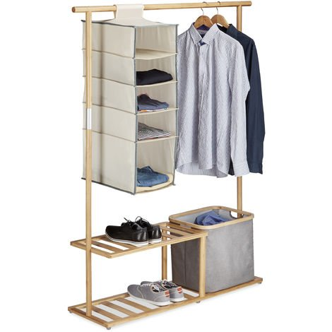 Relaxdays Bamboo Clothes Stand, Wardrobe with Hanging Rail, Organizer and Storage Bin, Natural
