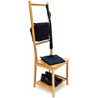 Relaxdays Bamboo Clothes Valet Chair 133 x 40 x 42 cm with 2 Shelves Wooden Clothes Stand with 3 Rails, Ideal For Moist Rooms, Clothing Organiser with Towel Holder Rack Stand, Natural