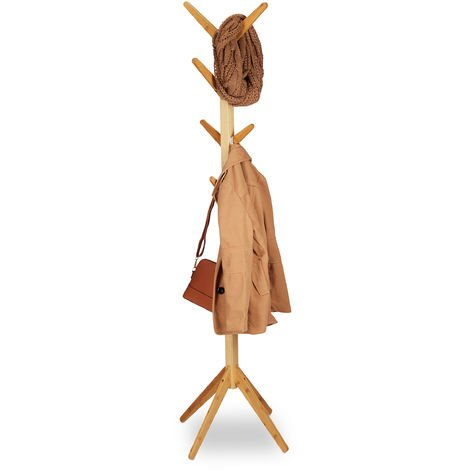 Relaxdays Bamboo Coat Rack, Garment Stand with 8 Hooks, Modern Hallway Tree, HxWxD: 179 x 40.5 x 40.5 cm, Natural