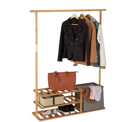 Relaxdays Bamboo Coat Rack, Open Clothes Stand with Garment Rail, Shelves & Box, HWD 154 x 124 x 33 cm, Natural