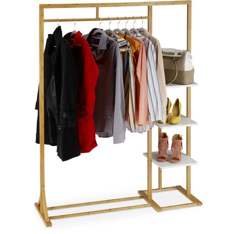 Relaxdays Bamboo Coat Stand, Open Wardrobe Rack, Garment rail & 3 Shelves, MDF, HWD 155 x 120 x 40 cm, Natural
