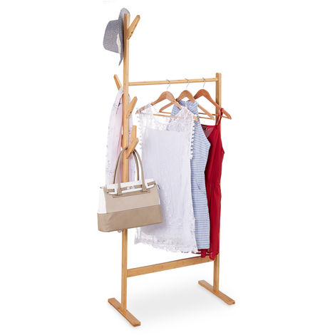 Relaxdays Bamboo Coat Stand, Open Wardrobe Rack, Garment Rail, Tree, HWD 176.5 x 64 x 40 cm, Natural