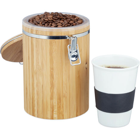 Relaxdays Bamboo Coffee Container, Easy to Clean, Plastic Inner Holder, Swing Lid, 20 x 13.5 x 13.5 cm, Natural Brown