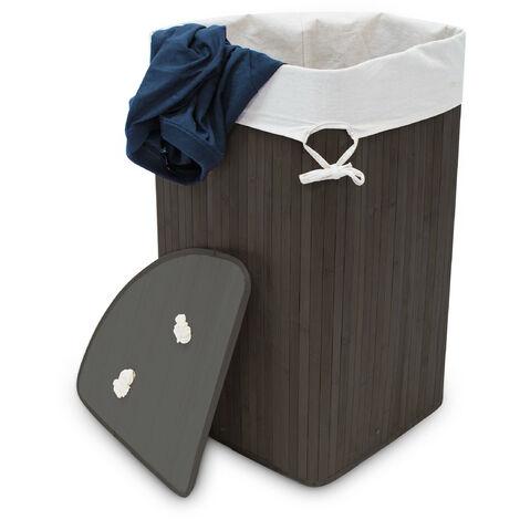 Relaxdays Bamboo Corner Laundry Basket, 65 x 49.5 x 37 cm, 64L, Folding Hamper with Laundry Sack, Black