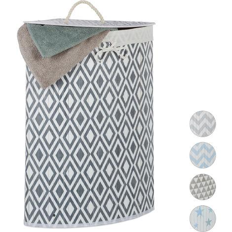 Relaxdays Bamboo Corner Laundry Hamper, Folding, Diamond, 60L, Lidded, Laundry Bag, 65.5 x 49.5 x 37 cm, White-Grey
