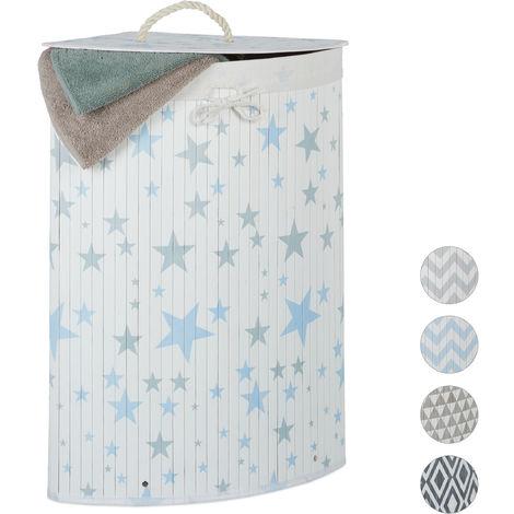Relaxdays Bamboo Corner Laundry Hamper, Folding, Stars, 60L, Lidded, Laundry Bag, 65.5 x 49.5 x 37 cm, White-Blue