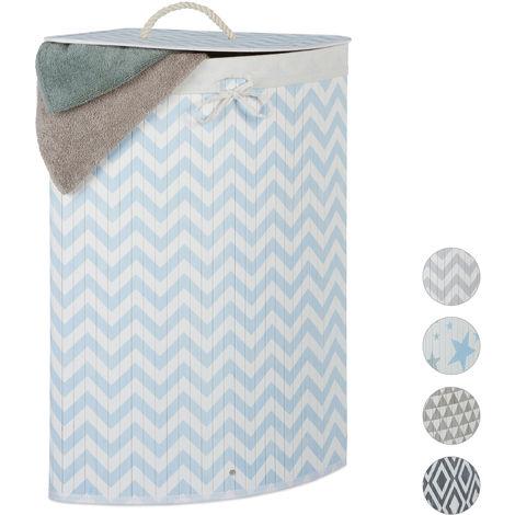 Relaxdays Bamboo Corner Laundry Hamper, Folding, Zigzag, 60L, Lidded, Laundry Bag, 65.5 x 49.5 x 37 cm, White-Blue
