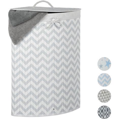 Relaxdays Bamboo Corner Laundry Hamper, Folding, Zigzag, 60L, Lidded, Laundry Bag, 65.5 x 49.5 x 37 cm, White-Grey