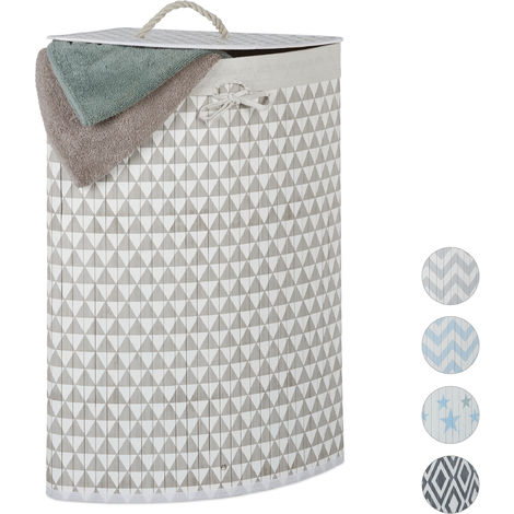 Relaxdays Bamboo Corner Laundry Hamper, Folding,Triangles, 60L, Lidded, Laundry Bag, 65.5 x 49.5 x 37 cm, Beige-Grey