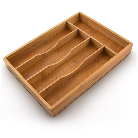 Relaxdays Bamboo Cutlery Tray Wooden Silverware Drawer Organiser Insert for the Kitchen Has 5 Compartments: approx. 34 x 4.5 x 25.5 cm Bamboo, natural color