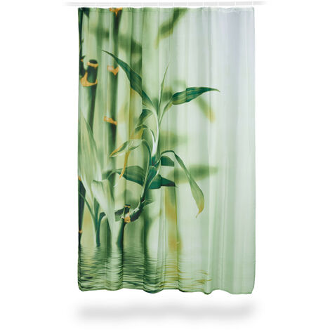 """main image of """"Relaxdays Bamboo Design Shower Curtain, Polyester, Fabric, Washable, Plant Motif, 200 x 180 cm, Bath Curtain, Green"""""""