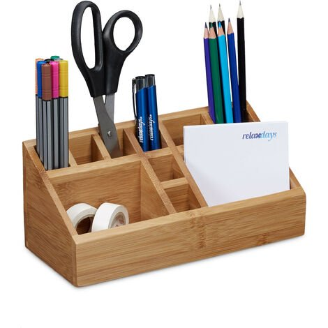 Relaxdays Bamboo Desk Organiser, Pencil Holder, 10 Compartments, Natural Wood Grain, Size: 10 x 23 x 10 cm, Natural Brown