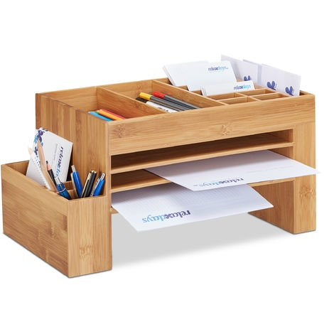 Relaxdays Bamboo Desk Organizer, Office Storage System, Pen Holder, Stationery, HWD 20 x 40 x 21.5 cm, Natural