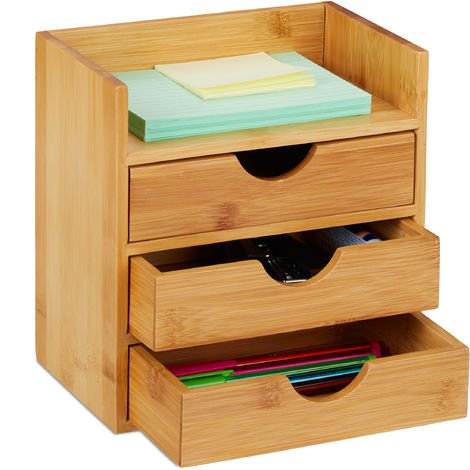Relaxdays Bamboo Desktop Organizer, 3 Drawers, Desk Tidy, Office Storage Unit, Pen Holder, HxWxD: 21x20x13 cm, Natural