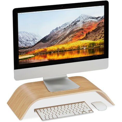 Relaxdays Bamboo Display Stand, Curved Desk Display Riser, Ergonomic, HWD 10x52.5x24 cm, Natural