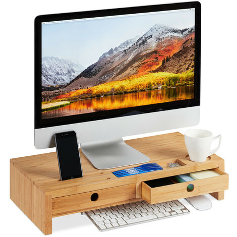 Relaxdays Bamboo Display Stand, Screen Riser with 2 Drawers and Compartments, Desk Organiser, HWD 12x56x27cm, Natural