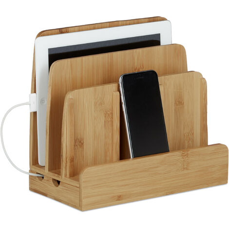 Relaxdays Bamboo Docking Station, Holder Dock, 3 Shelves, Smartphone, Mobile Phone, Tablets, HWD: 23 x 25.5 x 13.5 cm, Natural Brown
