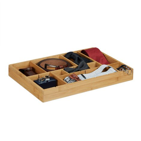 Relaxdays Bamboo Drawer Organiser, 5 x 45 x 32 cm, Kitchen Organizer with Removable Dividers, Drawer Insert as Cutlery Holder, Natural Brown