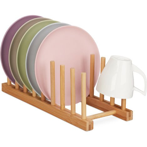 Relaxdays Bamboo Drying Rack, Oblong & Modern, Dish Drainer for Plates, Lids and Cutting Boards, 8 Slots, Natural