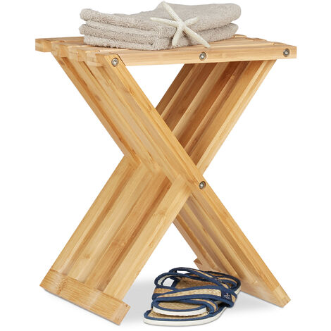 Relaxdays Bamboo Folding Stool, Natural Look, Small, Space-Saving, Foldable Chair for Children, HWD 42x32x27 cm, Natural