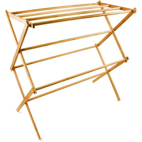 Relaxdays Bamboo Folding Towel Holder, 74 x 73 x 36 cm, with 4 Rails, Collapsible Drying Rack, Natural Brown