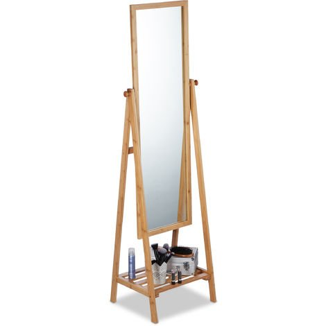 Relaxdays Bamboo Free-Standing Mirror, Swivel-Mounted, Bedroom Mirror with Drawer, HWD: 160x40x36 cm, Natural