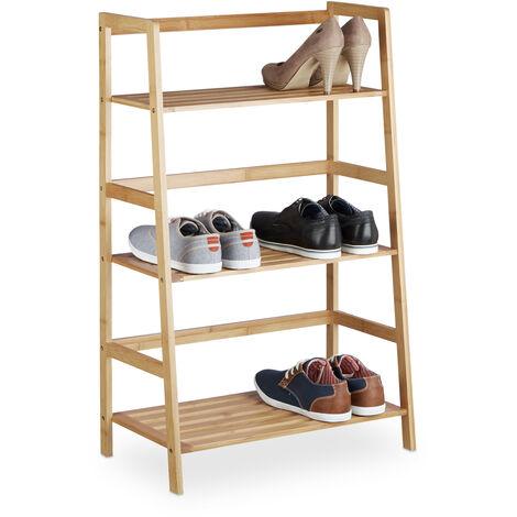 Relaxdays Bamboo Freestanding Bookcase with 3 Shelves, HxWxD: 91 x 57 x 32 cm, Narrow Rack, Bathroom Storage Unit, Bookshelf, Natrual Brown