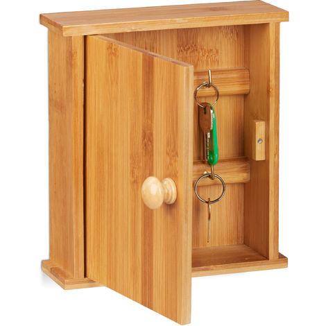 Relaxdays Bamboo Key Rack, Wooden Key Cabinet with 6 Hooks, Magnetic Latch, Wall-Mount, HWD 20.5x18x6cm, Natural