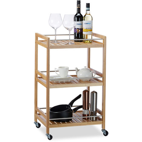 Relaxdays Bamboo Kitchen Trolley with 3 Shelves, Natural Look, 360° Swivel Wheels, Serving Cart, HWD: 76x46x38 cm, Natural