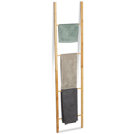 Relaxdays Bamboo Ladder Rack, 4 Rails, Foldable Freestanding Towel Holder Stand, HWD 180 x 42 x 2 cm, Natural