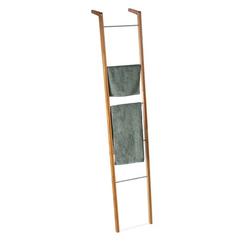 Relaxdays Bamboo Ladder Rack, Towel Holder, Decorative 5-Rung Rack, Leaning, HWD: 180 x 35 x 20 cm, Natural