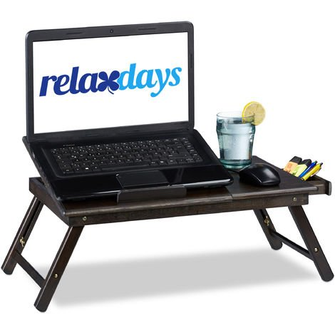 Relaxdays Bamboo Laptop Table, HWD: 24x60x35cm, Height-Adjustable Laptop Stand for Bed and Couch, With Drawer, Brown