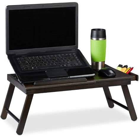 Relaxdays Bamboo Laptop Table, HWD: 25x60x35cm, Height-Adjustable Laptop Stand, Folding Tray with Drawer, Dark Brown