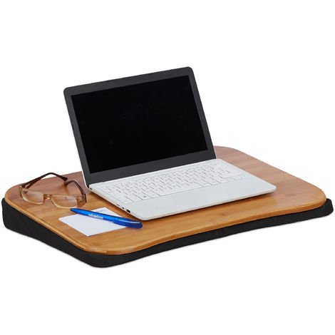 "Relaxdays Bamboo Laptop Table, Removable Cushion, With Handle, Laptop Stand 51 x 37 cm (Up to 22""), Natural"