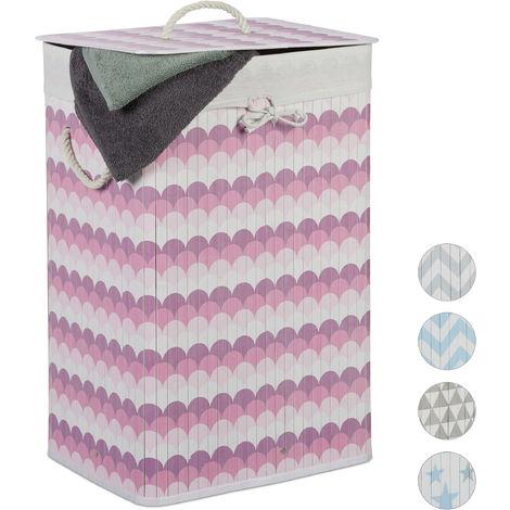 Relaxdays Bamboo Laundry Basket, 80 L, Scale Design, Lidded, Folding, Hamper, HxWxD: 65 x 44 x 33.5 cm, White-Pink