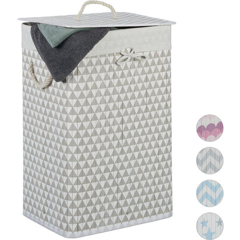 Relaxdays Bamboo Laundry Basket, 80 L, Triangle Design, Lidded, Folding, Hamper, HxWxD: 65 x 44 x 33.5 cm, Beige-Gray