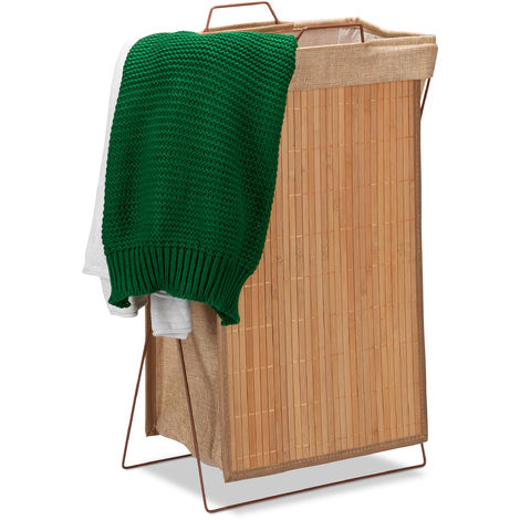 Relaxdays Bamboo Laundry Hamper, Folding, 40 L, Metal Frame with Handles, Laundry Bag, Clothes Container, HWD 61x38x22cm, Natural