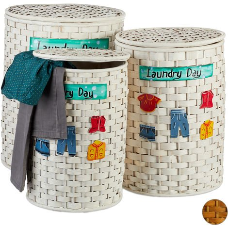 Relaxdays Bamboo Laundry Hamper Set of 3, Lidded Baskets, Removable Fabric Lining, Permeable to Air, White