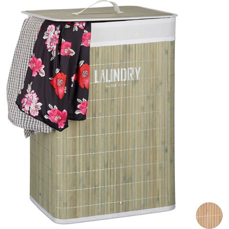 Relaxdays Bamboo Laundry Hamper with Lid, Folding Clothes Bag and Organiser with Print, 60x40x30 cm, Green