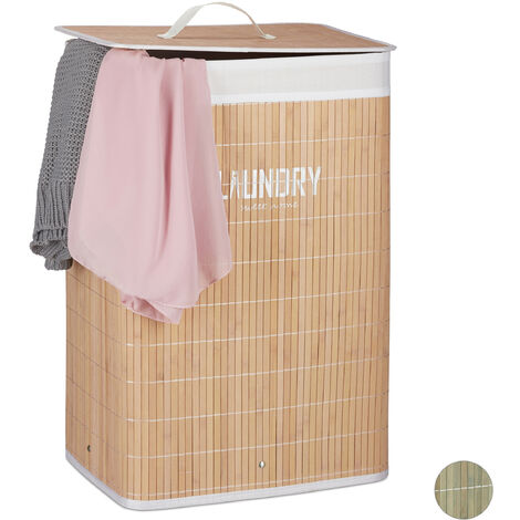 Relaxdays Bamboo Laundry Hamper with Lid, Folding Clothes Bag and Organiser with Print, 60x40x30 cm, Natural