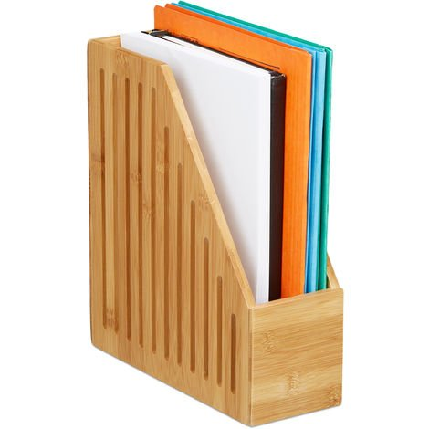 Relaxdays Bamboo Magazine File Holder, A4 Document Storage Rack, Office Desk Organiser, HxWxD: 30x10x26.5 cm, Natural