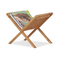 Relaxdays Bamboo Magazine Holder, Newspaper Rack with Handles, Compact, Freestanding, DIN A4 and A5, Natural