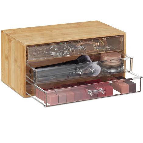 Relaxdays Bamboo Makeup Organiser, 3 Transparent Drawers, Cosmetics, Jewellery, H x W x D: 15 x 30 x 17.5 cm, Natural