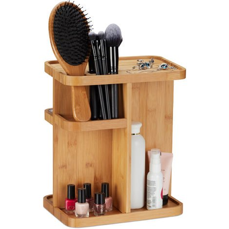 Relaxdays Bamboo Makeup Organiser, 360° Cosmetic Organiser for Bathroom & Vanity Table, HWD 31x25.5x18 cm, Natural