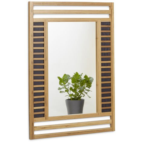 Relaxdays Bamboo Mirror Size: 70 x 50 x 2 cm Bathroom Wall-Mounted Mirror Decorative Bamboo Wood Frame Elegant Accessory for the Bathroom, Living Room, Hallway, etc. Wooden Mirror, Natural Brown