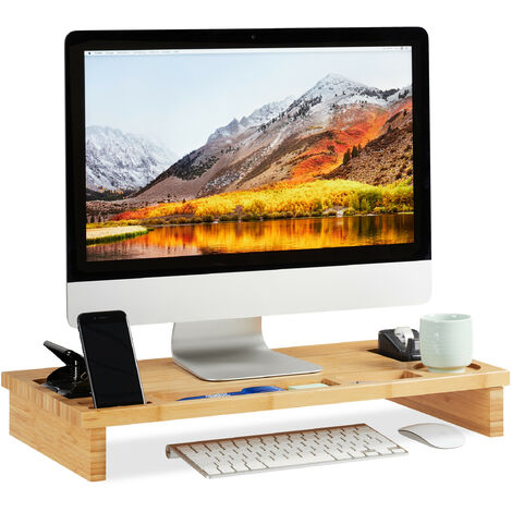Relaxdays Bamboo PC Monitor Stand, Screen Riser for Computers & Laptops, Storage Space, HWD 9 x 60 x 30cm, Natural