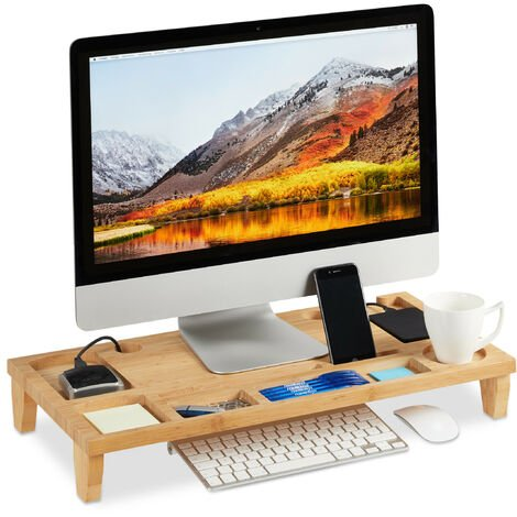 Relaxdays Bamboo PC Monitor Stand, Screen Riser for Laptops & Computers with 8 Storage Compartments, HWD 9 x 60 x 30cm, Natural
