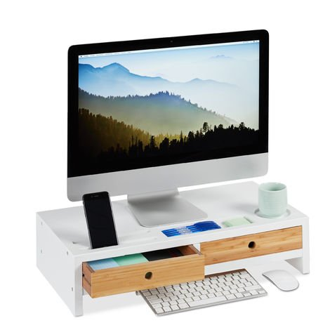 Relaxdays Bamboo PC Monitor Stand, Screen Riser with 2 Drawers & Compartments, Computer Workstation HWD 14 x 60 x 30 cm, White/Natural