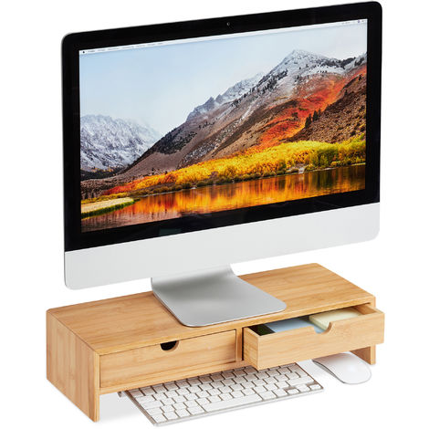 Relaxdays Bamboo PC Monitor Stand, Screen Riser with 2 Drawers, Computer Workstation H x W x D 11.5 x 47 x 18 cm, Natural